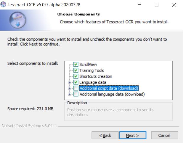 tesseract OCRのインストール手順 Additional script data